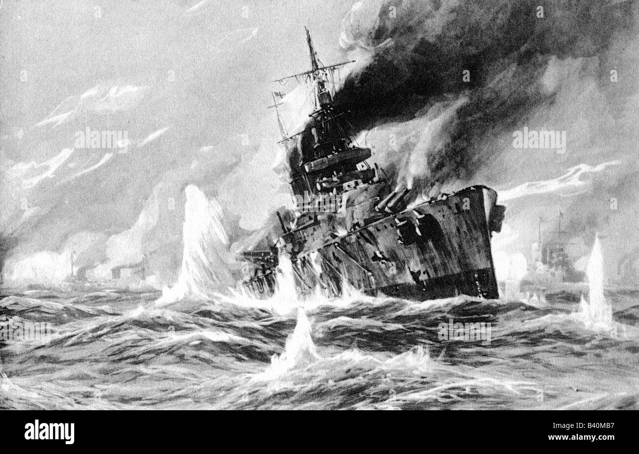 Events First World War Wwi Naval Warfare Battle Of Dogger Bank Stock Photo Royalty Free