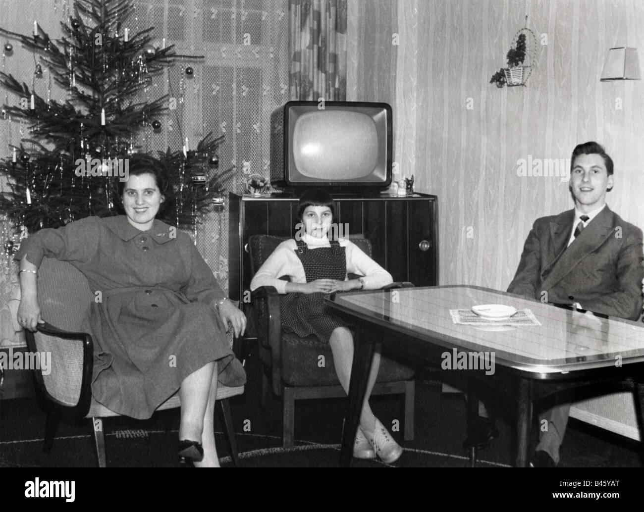 1950s Family Living Room Stock Photos  1950s Family