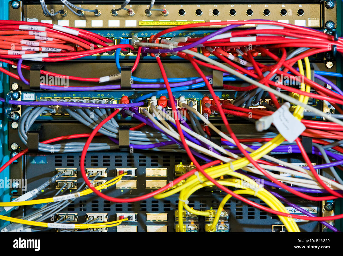 hight resolution of computer cables and ethernet network cables in a server rack stock image