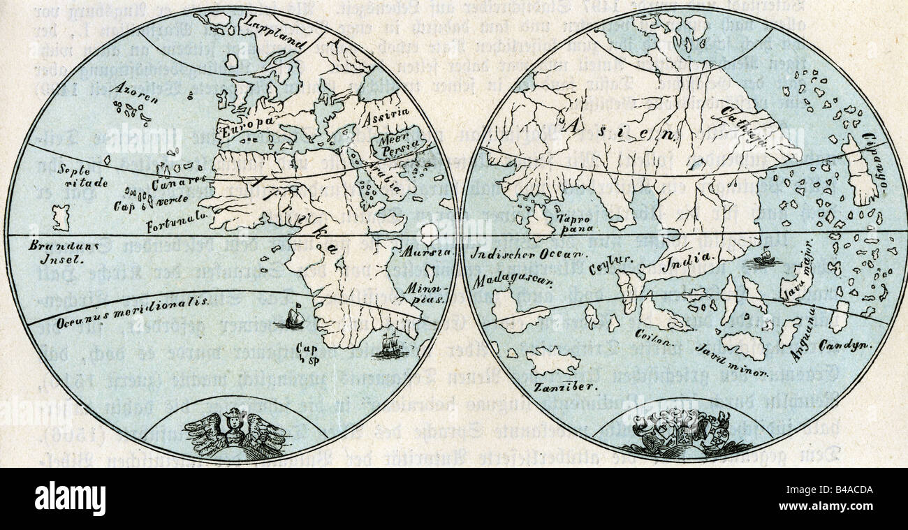 Cartoraphy World Maps Map After Globe By Martin Behaim 1492 Stock Photo Alamy