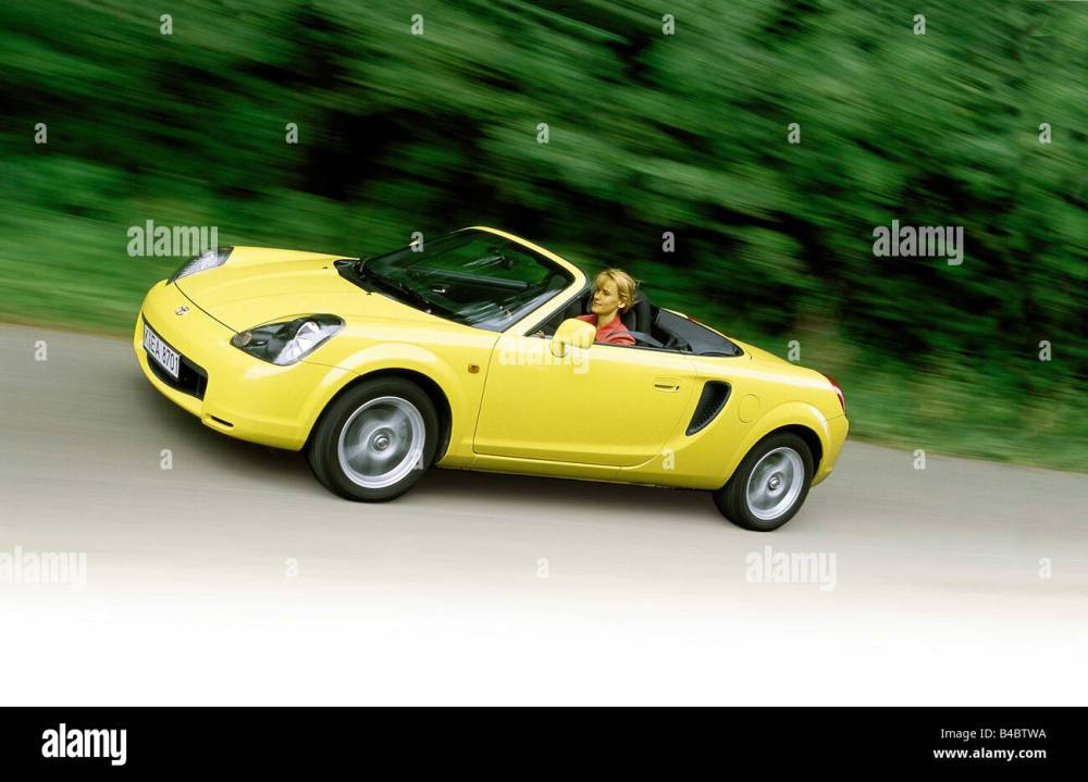 medium resolution of car toyota mr2 convertible model year 2000 yellow driving