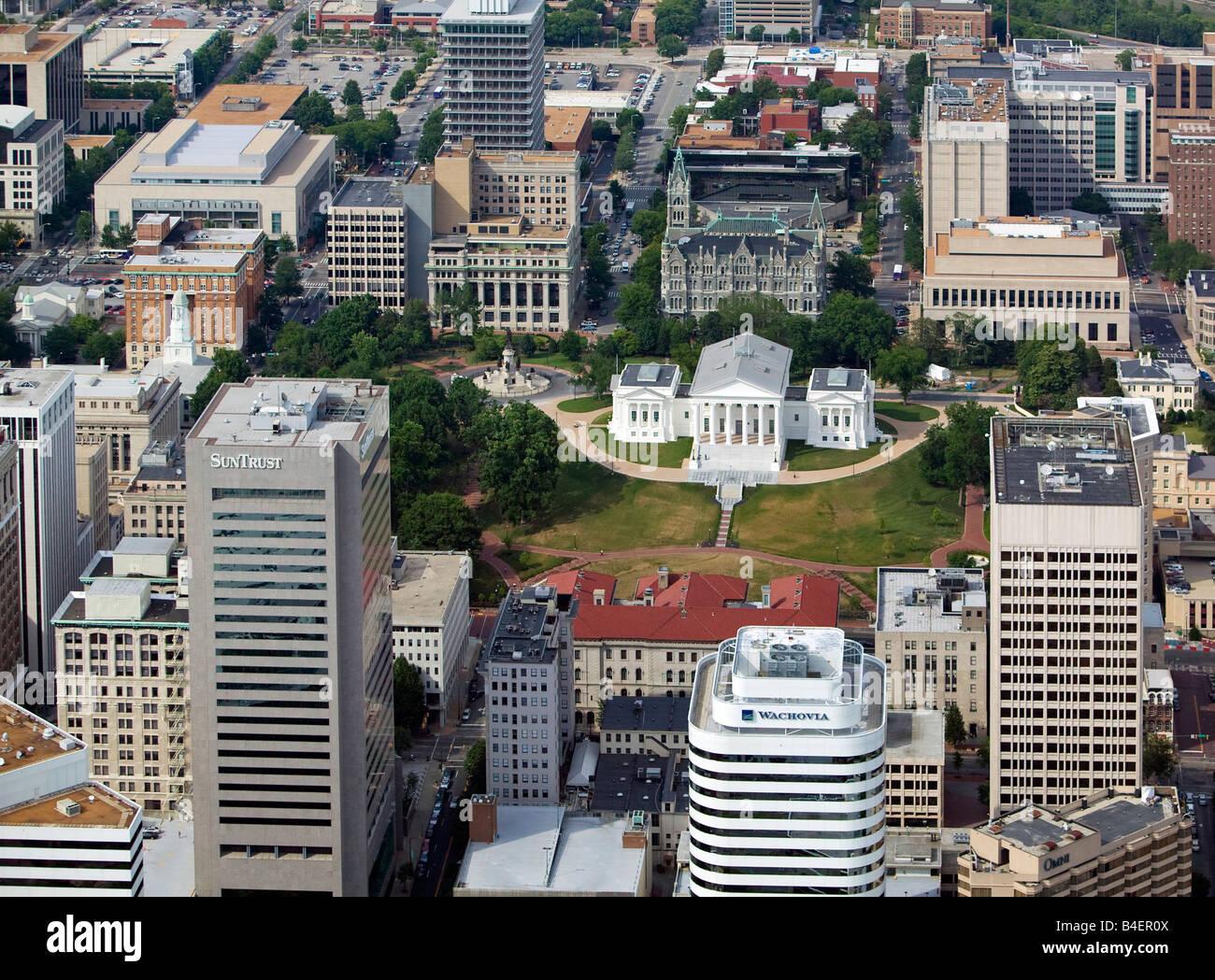 Aerial Above Virginia State Capital Richmond Va Wachovia