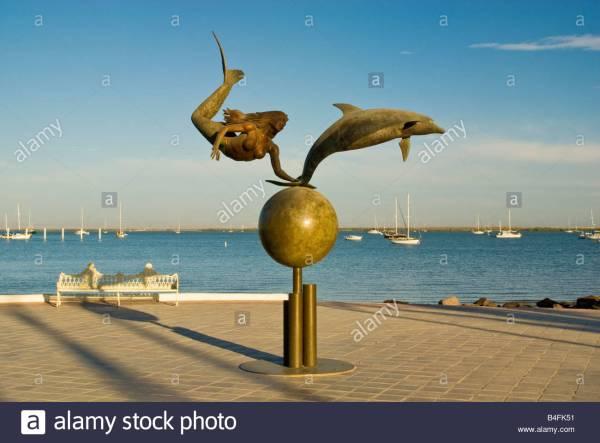 Mermaid And Dolphin Sculpture Octavio Gonzales Malecon In La Stock Royalty Free
