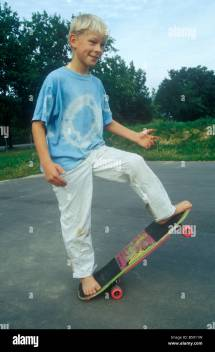 Barefoot Young Boy Skateboard Stock 20482053