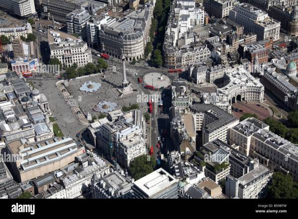 Aerial View South East Of Trafalgar Square Strand