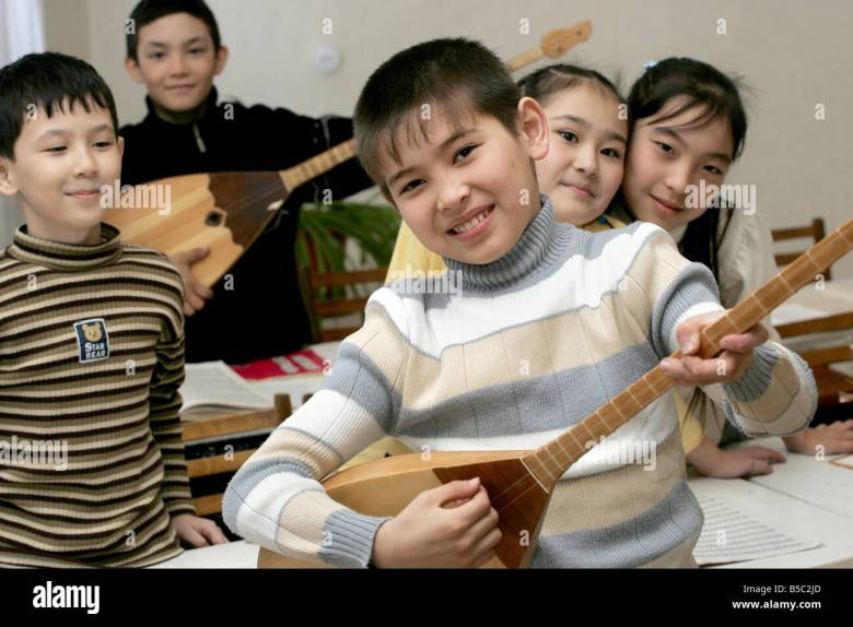 musical school class of national kazakh musical instruments stock