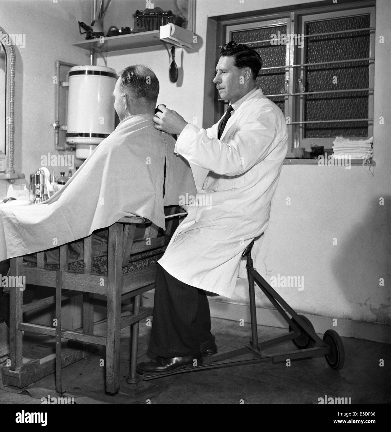 mobile barber chair hanging inventions 1960 stock photos