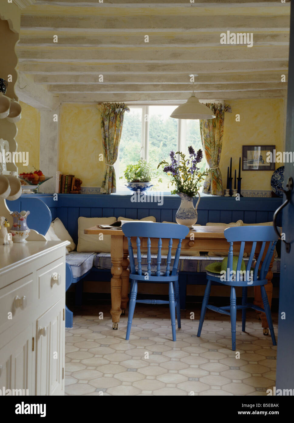 blue kitchen chairs retro metal cabinets painted and settles in yellow cottage dining room with white beamed ceiling vinyl flooring