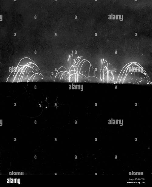 small resolution of star shells and artillery barrage can be seen raging over the somme battlefield in this time
