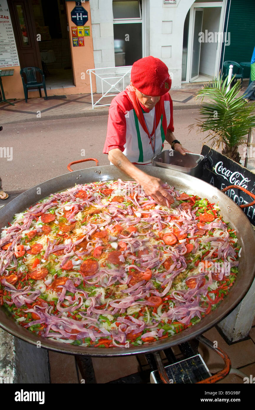 French Basque man cooking paella in the town of Biarritz Pyrenees Stock Photo 20642259  Alamy