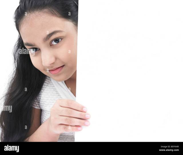 A Pretty Asian Teenage Girl Of Indian Birth With A Blank Placard Stock Image