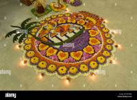 FLOWER CARPET DURING ONAM CELEBRATOINS IN KERALA INDIA ...
