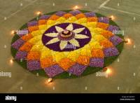 FLOWER CARPET DURING ONAM CELEBRATOINS IN KERALA INDIA