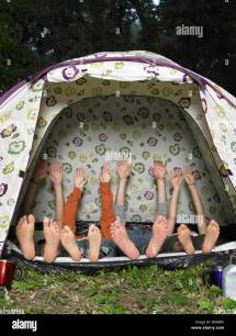 Barefoot Vacation Camping Tent Stock &
