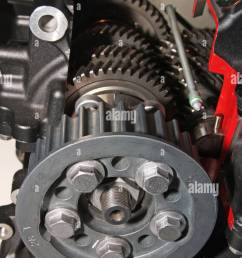 cut away view of gearbox and final drive cog in modern motorcycle engine  [ 866 x 1390 Pixel ]