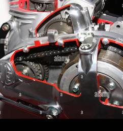 cut away view of clutch gearbox and change arm on modern motorcycle engine  [ 1300 x 956 Pixel ]