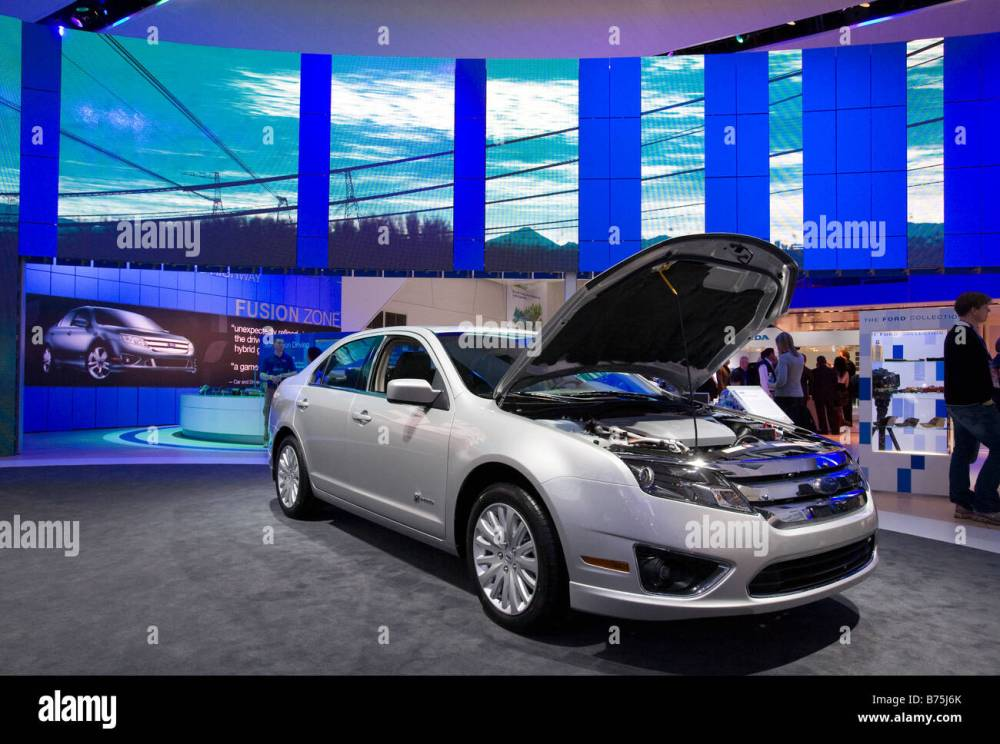 medium resolution of detroit michigan the ford fusion hybrid on display at the north american international auto show