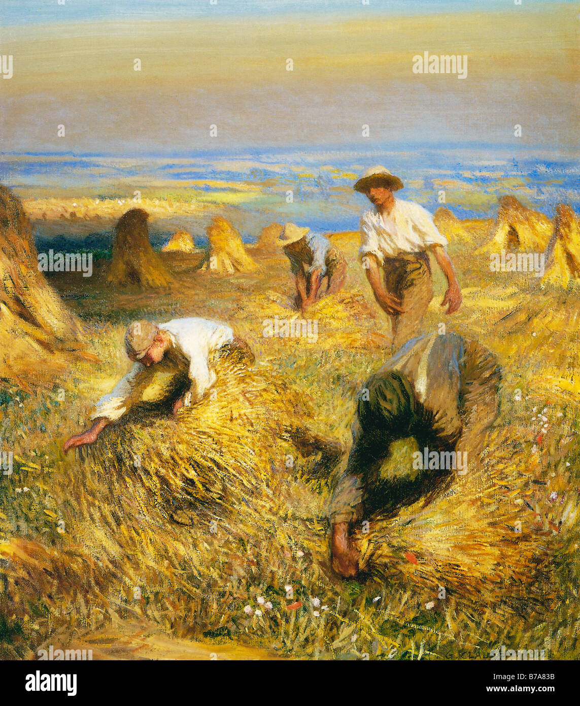 Tying The Sheaves Painting By George Clausen Of Harvest Time On Stock Photo