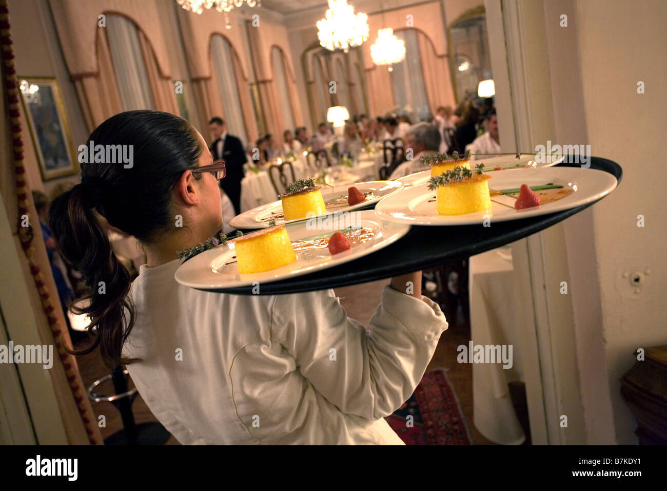 Waitress Carrying Heavy Tray