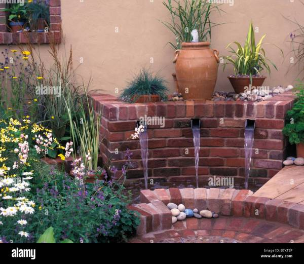 Modern Water Feature With Spouts Stock