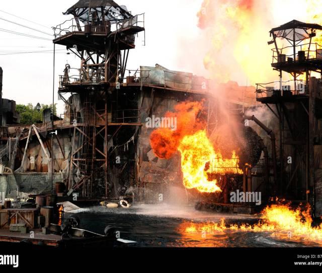 Universal Studios La Los Angeles Hollywood California Movie Film Set Waterworld Amusement Park Theme Fire Flames Stunt Explosion