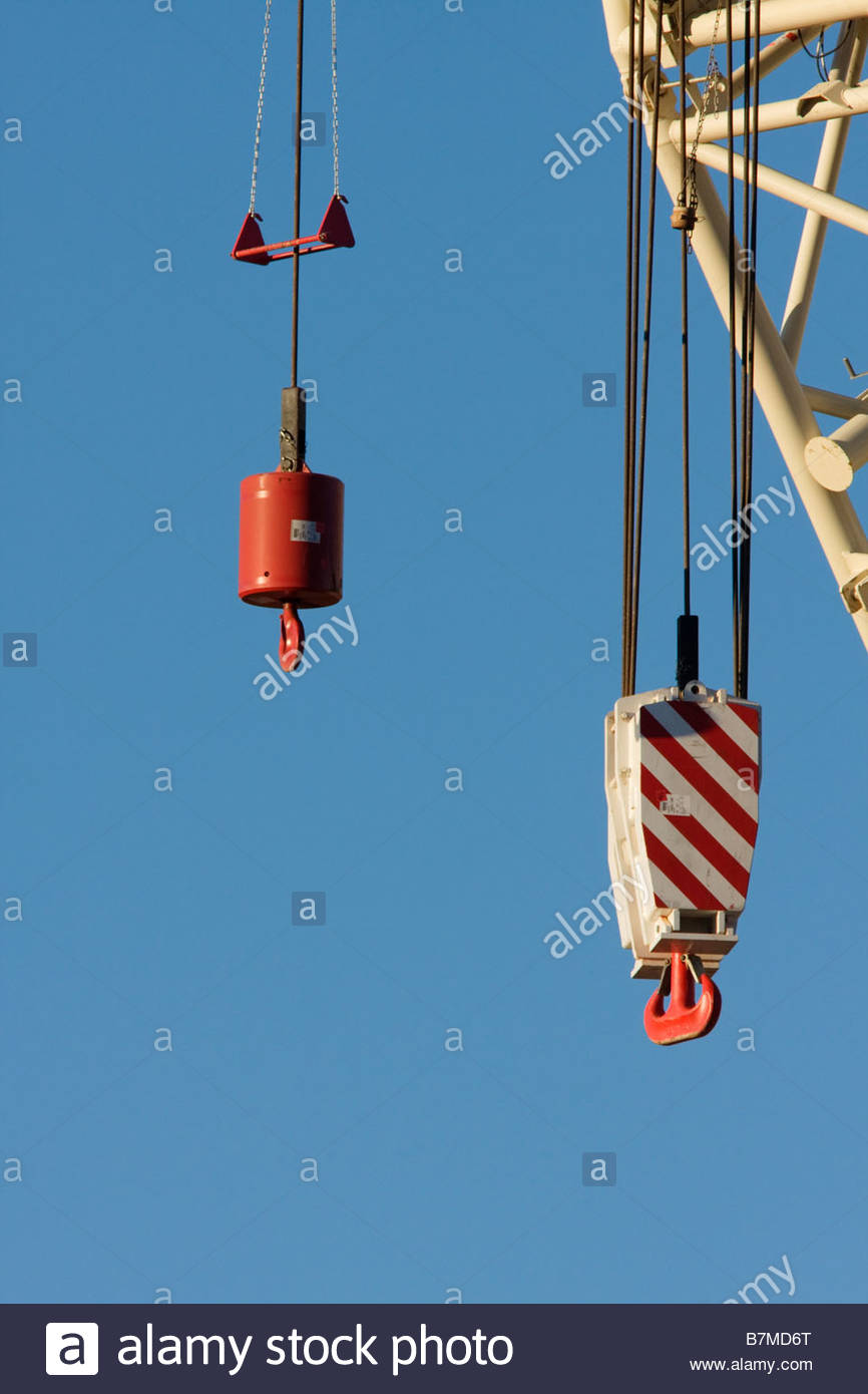 medium resolution of heavy crane hook block stock image
