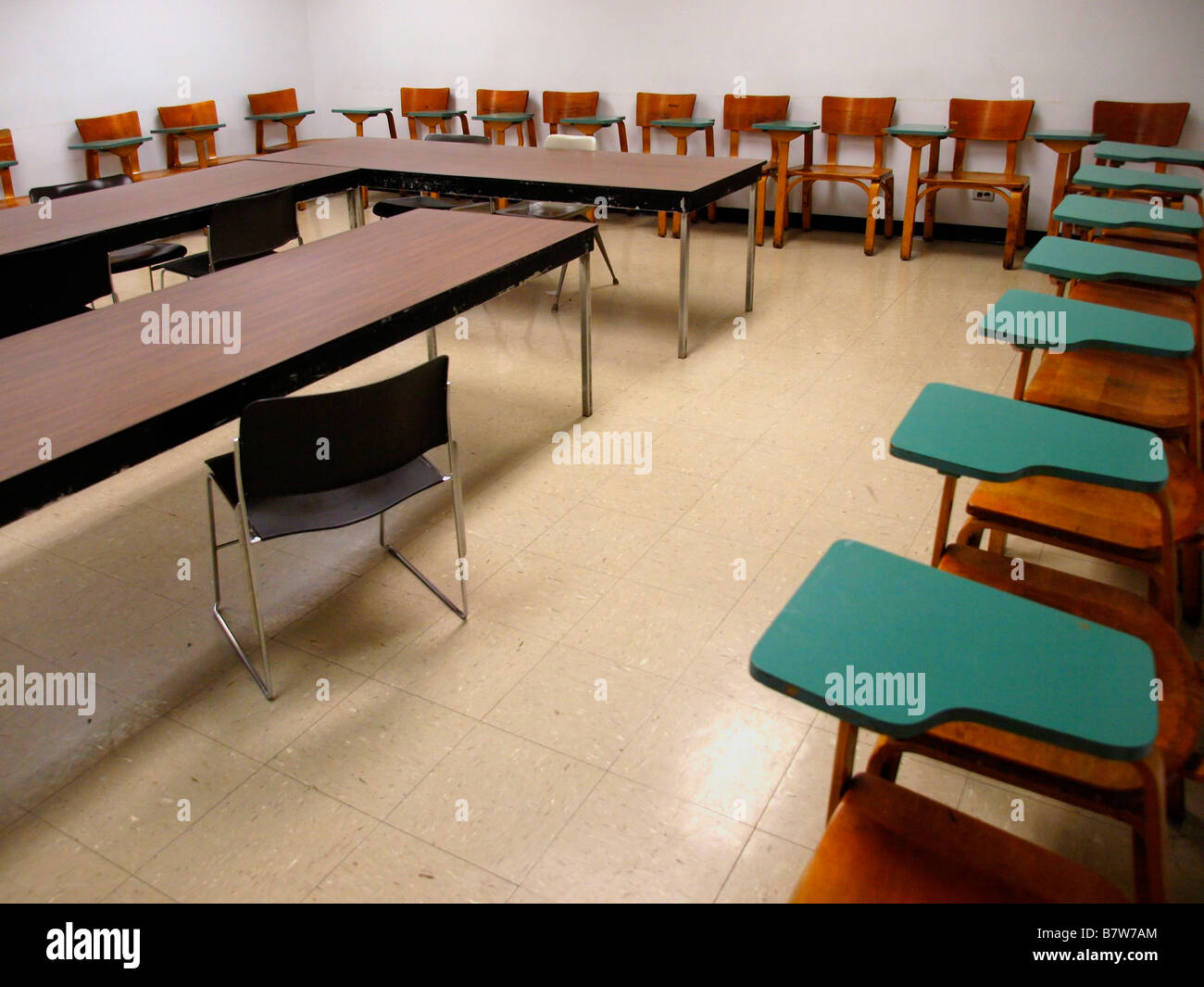 old office chair and table steelcase antique school classroom desk stock photos