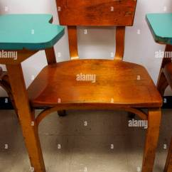 Old Wooden Desk Chair 4 In 1 High Fisher Price Warn Antique Vintage With Turquoise Writing Surface An Aging Classroom