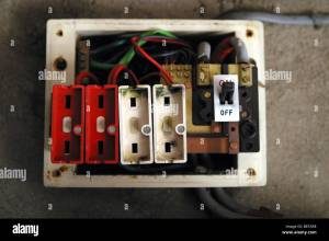 old style consumer unit electrical wire fuse box Stock Photo: 22662956  Alamy