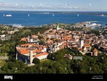 Aerial View Of Tallinn Town. Baltic Sea In