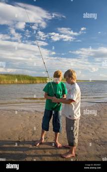 Two Boys Fishing Lake Rtsjrv Tartu County Estonia