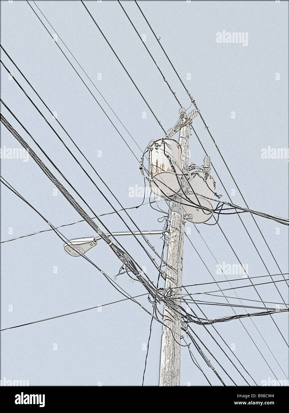 medium resolution of utility pole with generator street lamp and wires in a drawing type image from photograph