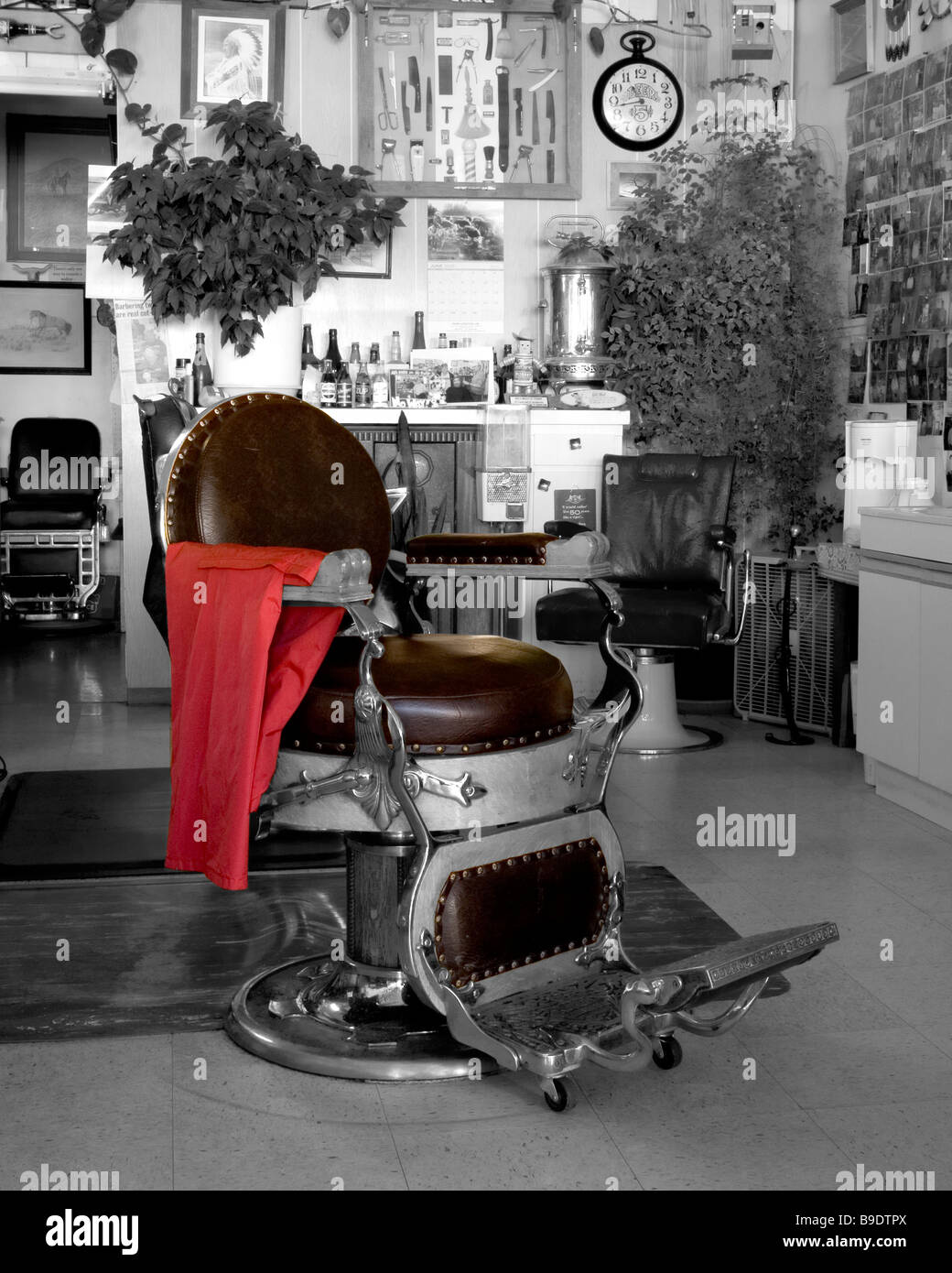 Old School Barber Chair An Old Fashioned Barber Chair In A Small Town Barber Shop