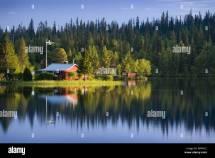 Sweden Lapland Lake Shore Framehouse Swedish Flag Forest