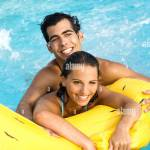 Mate Young Air Mattress Pool Cheerfully Laughing Watching Camera Stock Photo Alamy