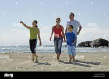 Beach Parents Children Two Barefoot Walk Cheerfully Series