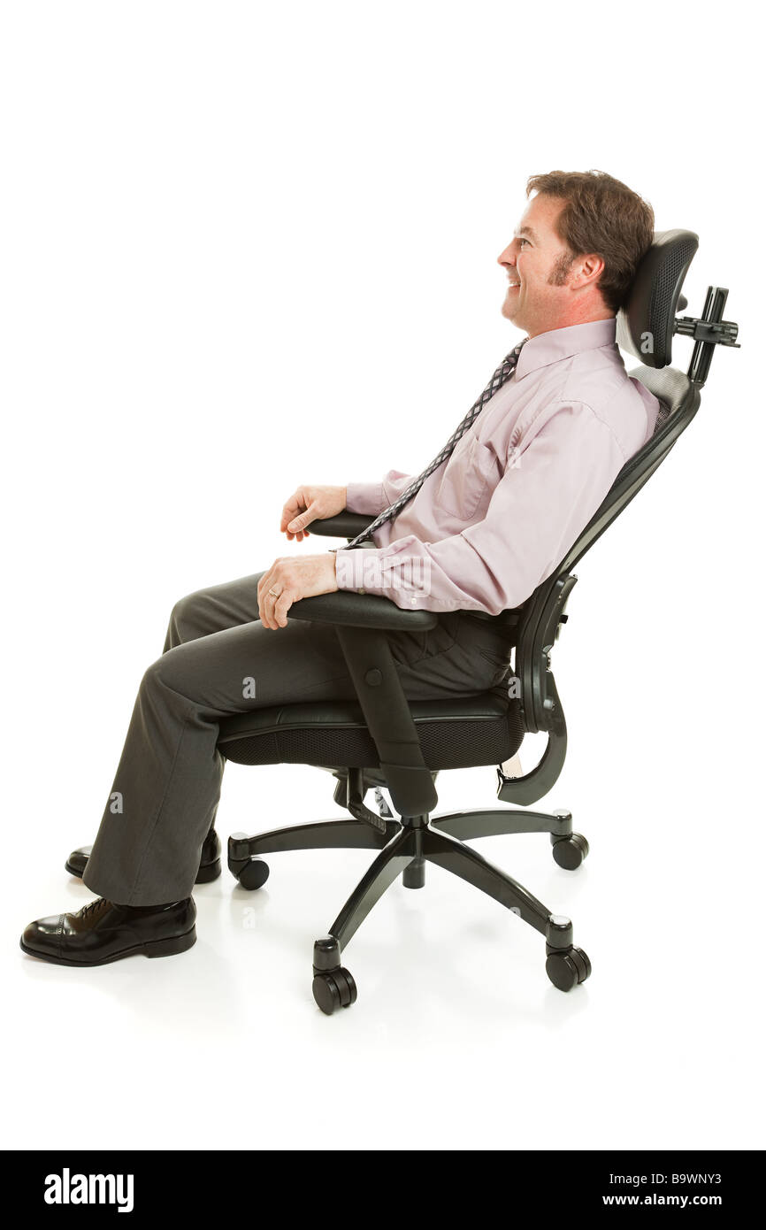 anthro ergonomic verte chair resistance exercise system lumbar support stock photos images alamy businessman relaxing in a comfortable office full body isolated on white image