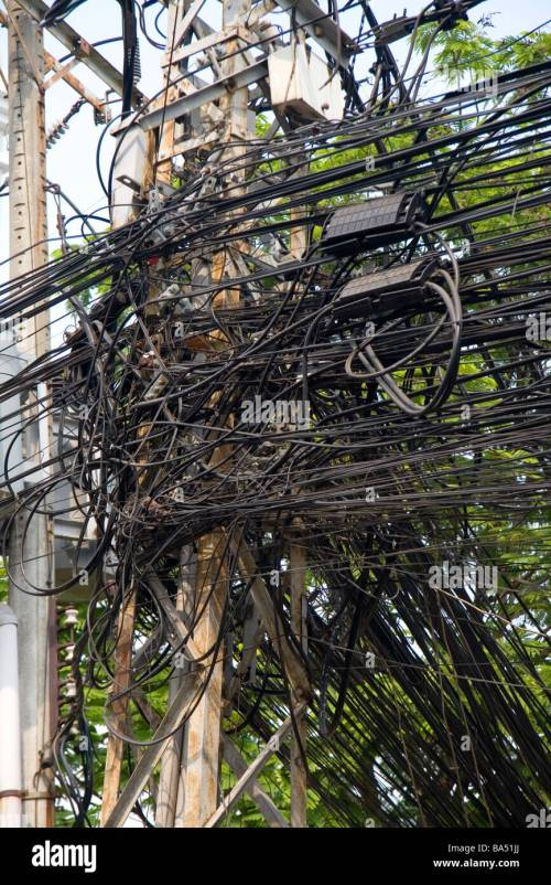 small resolution of a tangle of telephone wires on a utility pole in ho chi minh city central locking