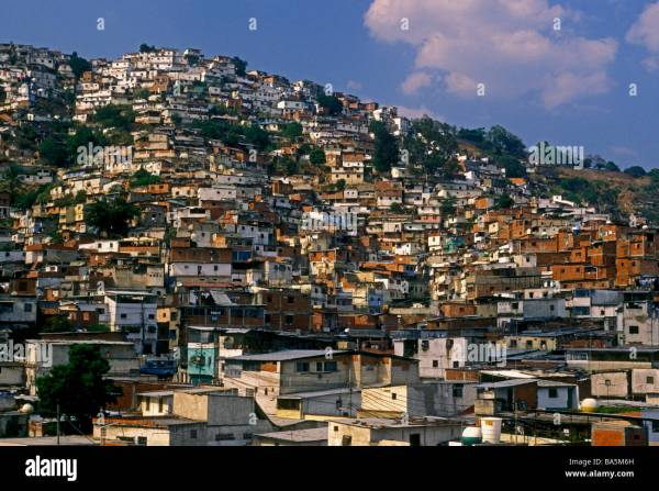 shantytown slum built along hillside Barrio Eucalyptus