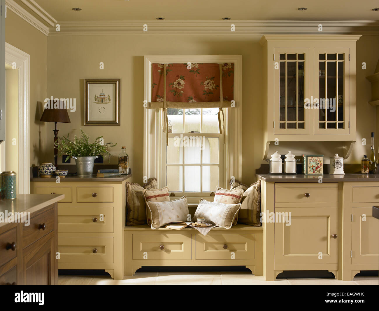 Window sitting area in a kitchen Stock Photo, Royalty Free