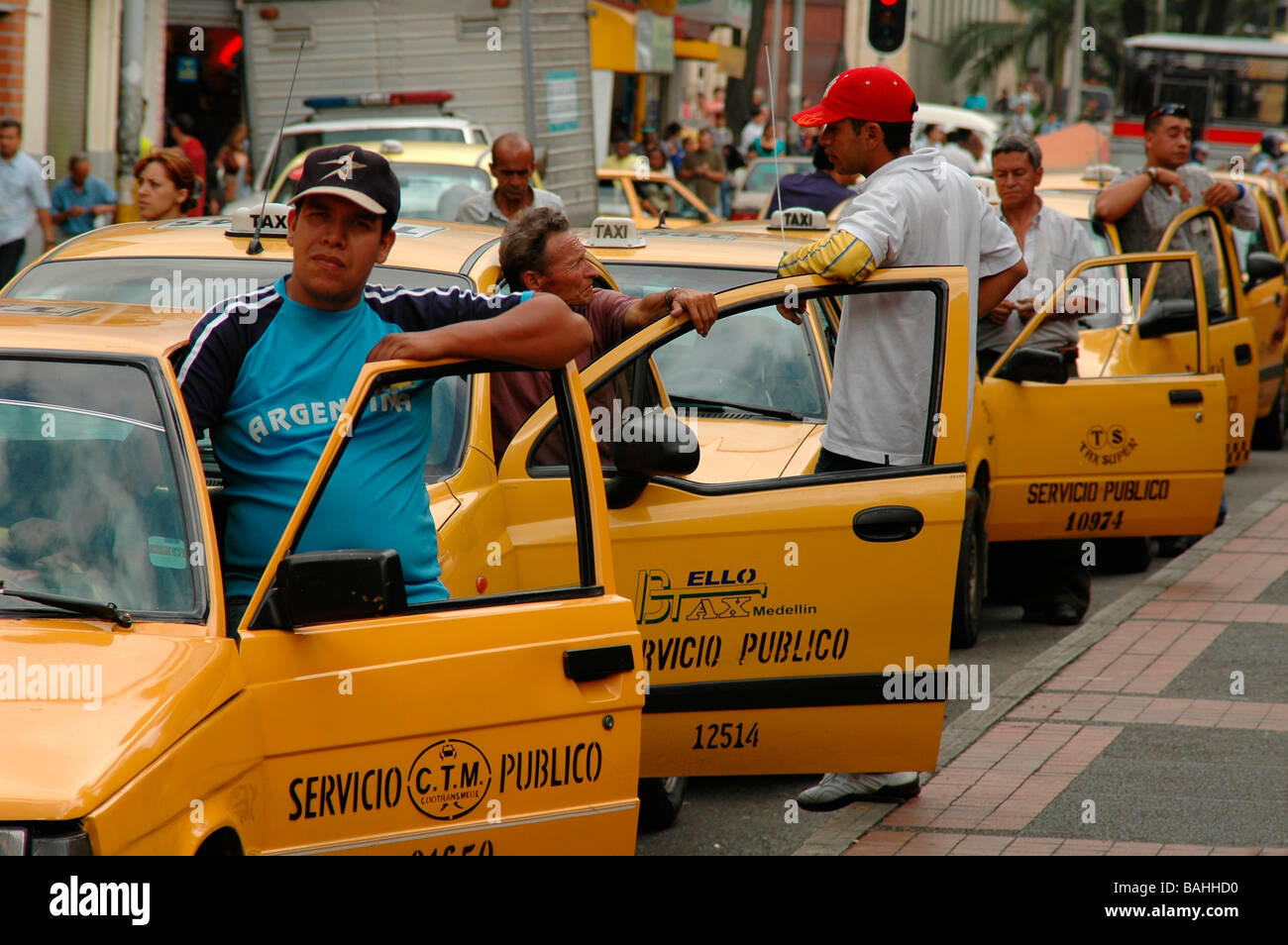 Taxi Drivers In Medellin Stock Photo
