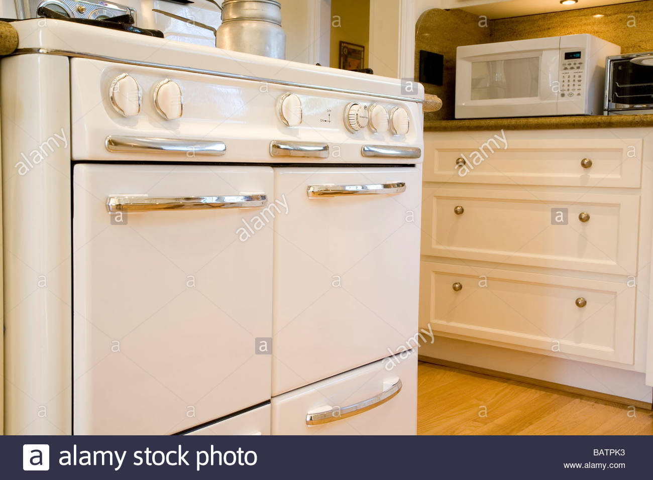 Oldfashioned Oven In Country Style Kitchen Stock Photo