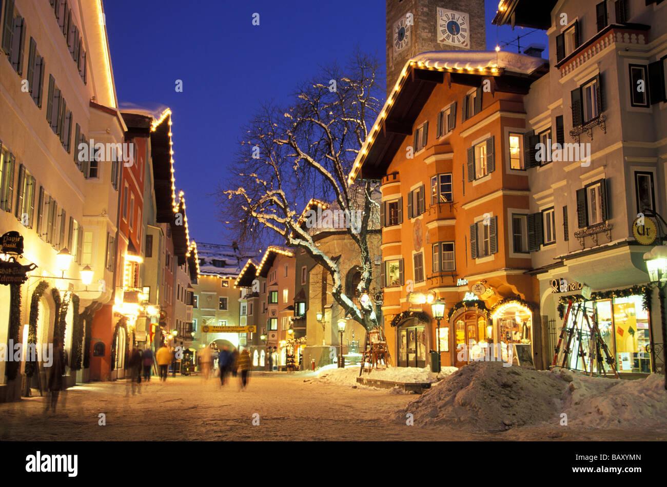 Kitzbuehel On An Evening In Winter Tyrol Austria Stock