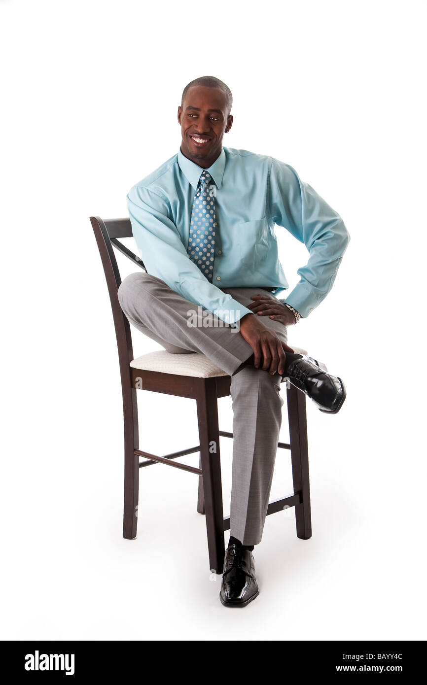 Chair Pants Handsome African American Business Man Smiling Sitting On Chair