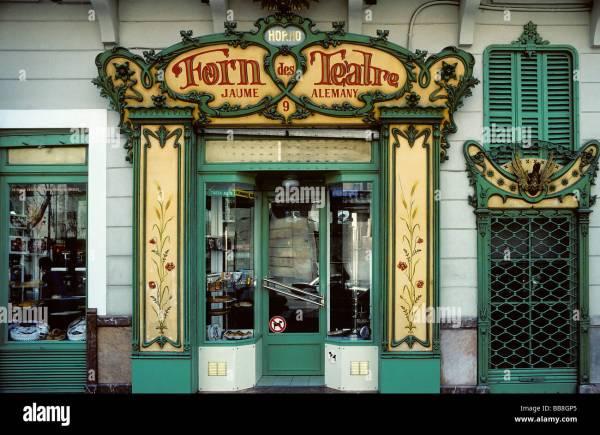 Bakery With Beautiful Art Nouveau Facade Palma Majorca Balearic Stock Royalty Free