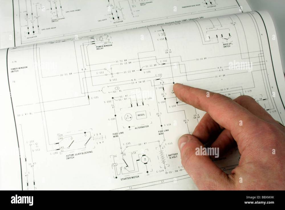 medium resolution of man referring to electrical wiring diagram stock image