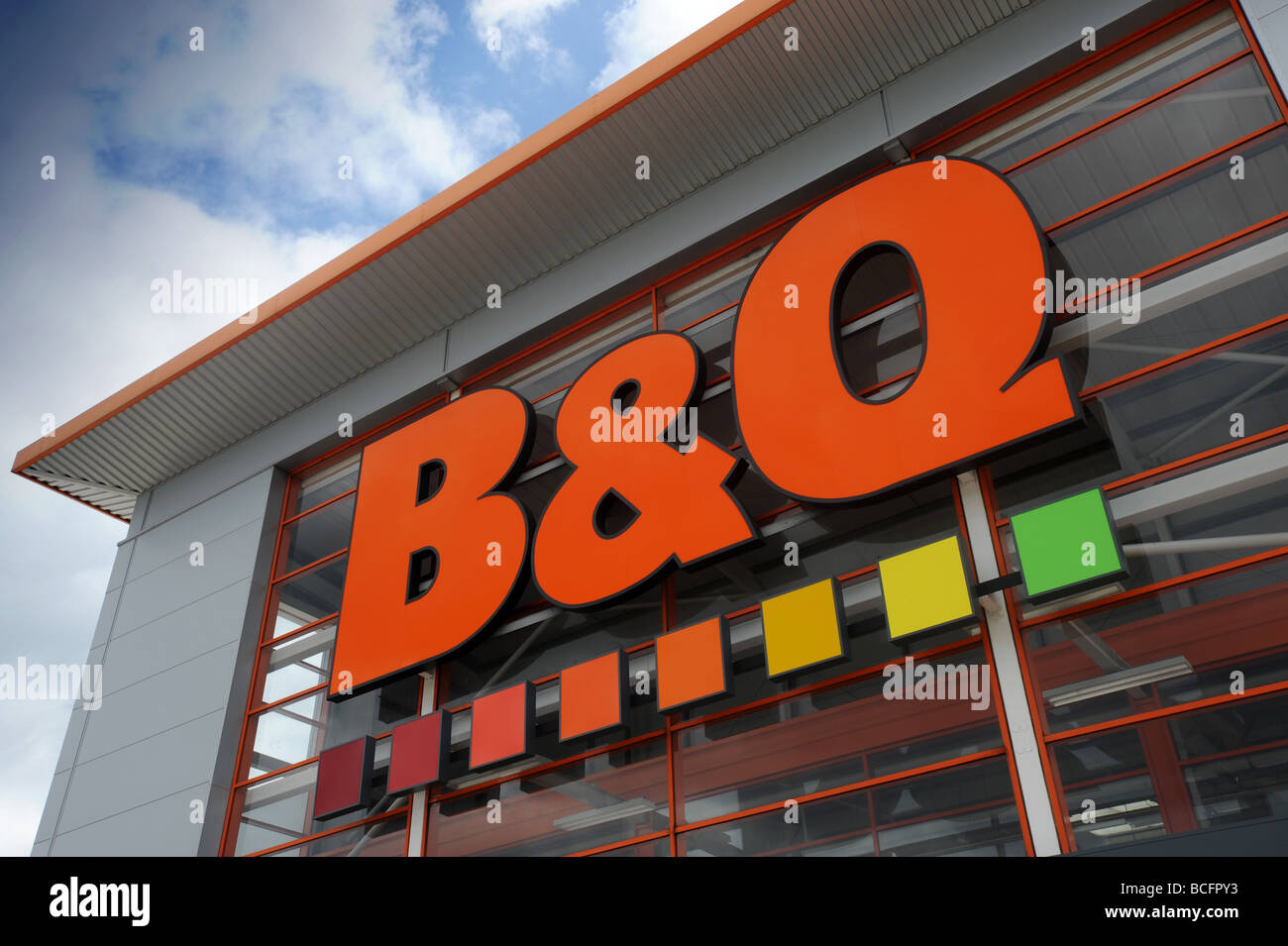 B  Q DIY store sign and logo in Halesowen West Midlands B and Q Stock Photo Royalty Free Image