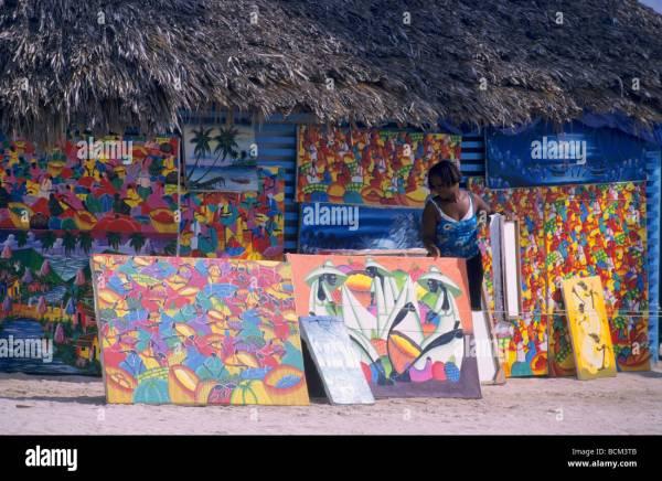 Naive Paintings Local Art Market - Dominican Republic Saona Stock 25028315 Alamy