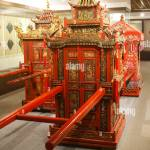 Elaborately Carved Sedan Chair In Red And Gold For Wedding Ceremony Stock Photo Alamy