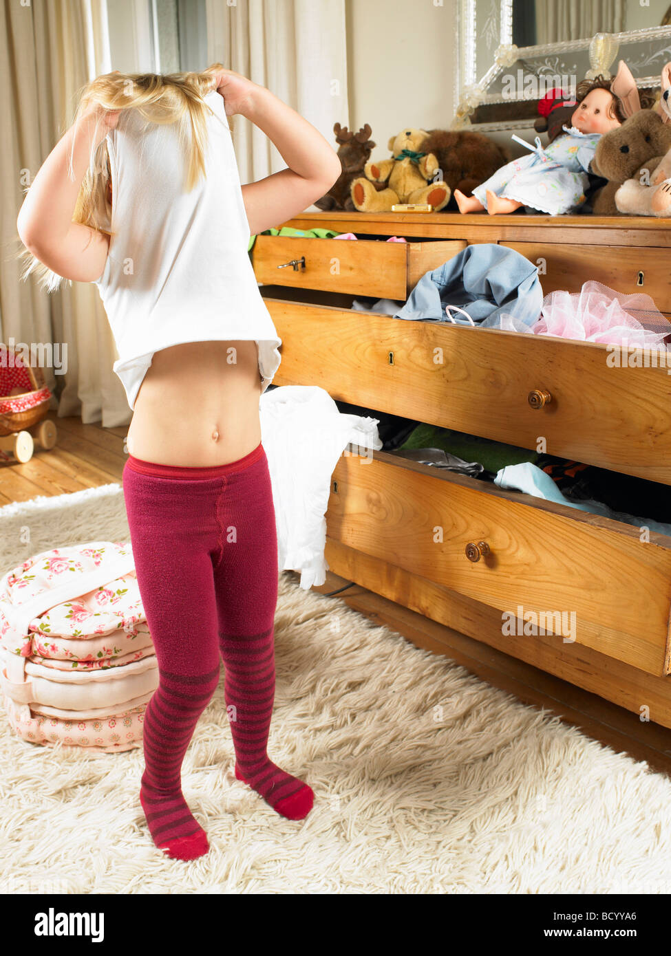 Girl changing clothes Stock Photo 25200398  Alamy